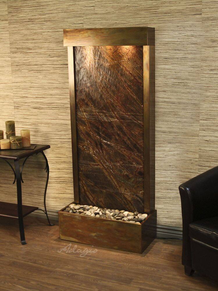 Harmony River  Flush Mount Rustic Copper Brown Marble